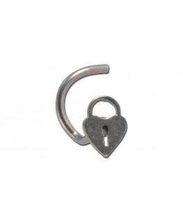 Piercing nez petite serrure coeur plat acier chirurgical 316l, barre tige courbée clef cle