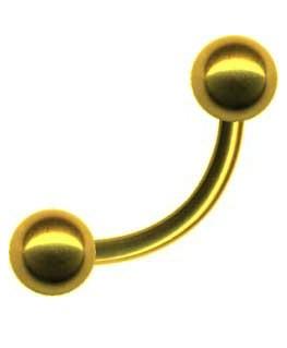 Piercing arcade teton avec boule acier couleur dore