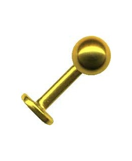 piercing au tragus labret boule acier couleur doré