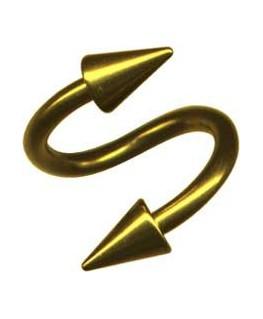 piercing spirale double spike acier couleur dore
