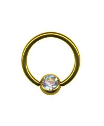 piercing anneau captif boule de serrage strass blanc couleur doré