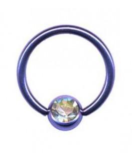 piercing anneau levre tragus teton acier boule violet strass blanc