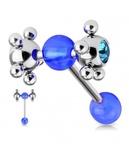 piercing langue roulette coquine strass bleu roi