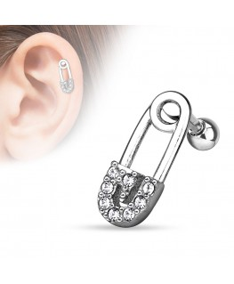 Piercing cartilage epingle a nourrice strass blanc