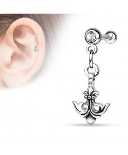 Piercing OREILLE cartilage helix acier ancre marine fleur de lys strass blanc pendentif oreille
