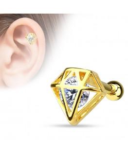 Piercing Helix Cartilage Couleur doré Imitation Diamant Strass Blanc Rubis Oreille