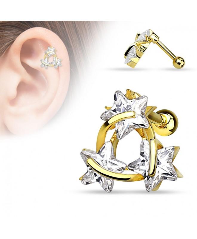 meilleures baskets bdd32 21221 Piercing cartilage trois étoiles helix strass blanc brillant oreille  couleur doré - Ile aux piercings