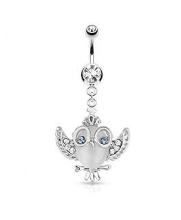 piercing nombril hibou oeil chouette ailes lunettes strass blanc et yeux bleu