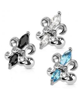 piercings Piercing pour le cartilage hélix oreille, représentant une fleur de lys strass noir ou blanc