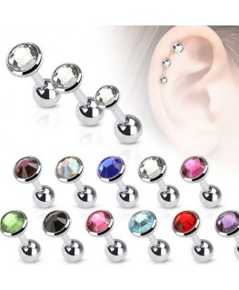 piercing helix oreille cartilage triple strass blanc
