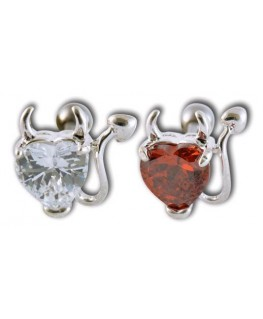 piercing diable coeur devil diablesse queue corne strass pour l oreille