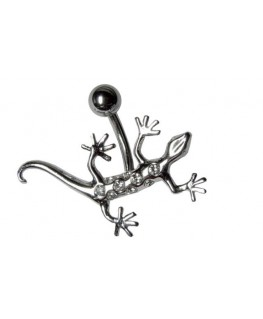 Piercing nombril salamandre strass blanc couleur argenté animal lezard tige fixe
