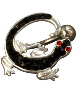 Piercing nombril salamandre lezard fantaisie acier 316l couleur argenté strass noir yeux rouge inversé