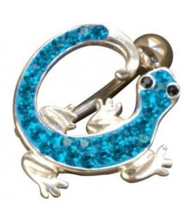 Piercing nombril salamandre lezard fantaisie acier 316l couleur argenté strass bleu yeux noir inversé