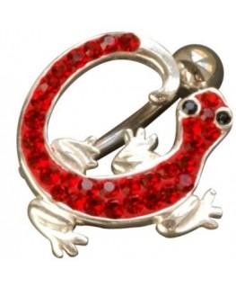 Piercing nombril salamandre lezard fantaisie acier 316l couleur argenté strass rouge yeux noir inversé
