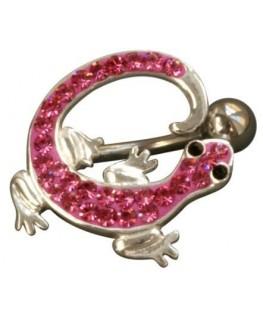 Piercing nombril salamandre lezard fantaisie acier 316l couleur argenté strass rose yeux noir inversé