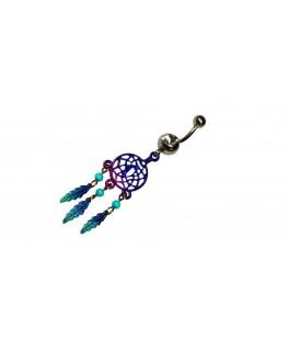 piercing attrape reve nombril plume perle bleu violet