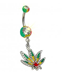 Piercing nombril marijuana cannabis feuille