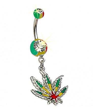 Piercing nombril marijuana cannabis feuille
