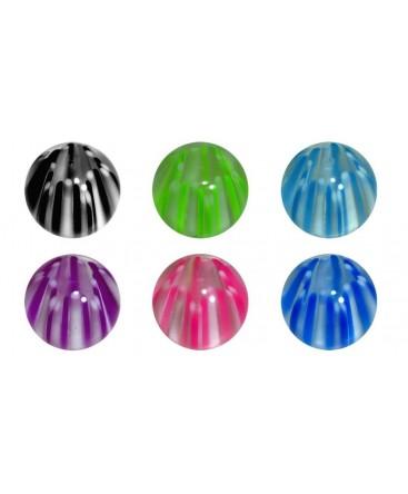 Piercing nombril LOT 6 boule etoile rayure transparent filetage 1.6mm x 8mm