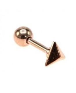 piercing triangle relief 3D oreille tragus couleur doré rose