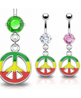Piercing nombril anneau cercle peace and love