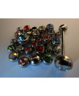 Lot piercing langue plus boule strass 1.6x4mm, 1.6x5mm, 1.6x6mm, 1.6x8mm.