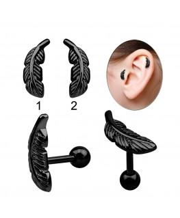 Piercing tragus cartilage oreille avec feuille noir