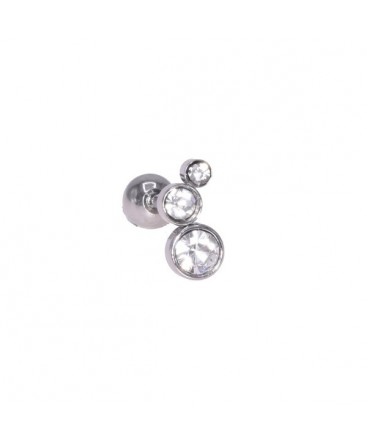 Piercing tragus oreille triple strass rond 2mm BLANC