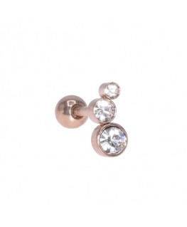 Piercing tragus triple strass blanc 4,3,2 mm couleur doré rose