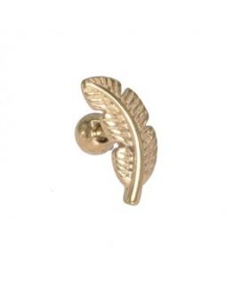 Piercing oreille feuille ouverte helix tragus couleur doré