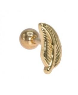 piercing plume oreille helix cartilage tragus couleur doré