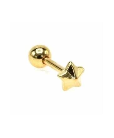 piercing tragus étoile cartilage helix lobe relief couleur doré
