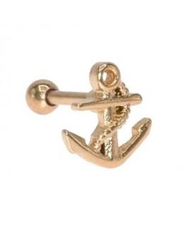 piercing oreille ancre marine de bateau corde couleur doré