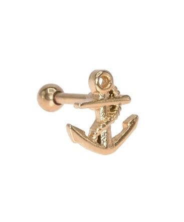 piercing ancre marine de bateau pour oreille couleur doré