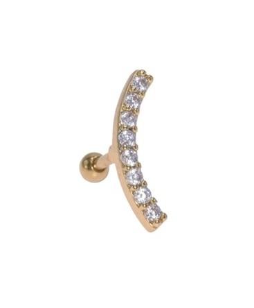 Piercing oreille cercle couleur doré multi strass blanc