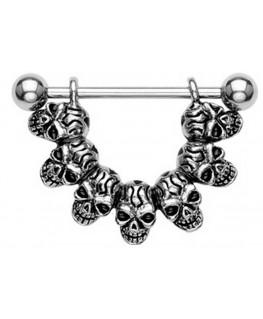 Piercing 7 Tete de Mort Nipple Sein Teton Poitrine Relief 3D Squelette Gothique