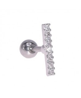 Piercing oreille cartilage tragus barre rectangulaire 9 strass blanc