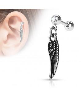 Piercing oreille tragus catilage lobe plume d ange strass blanc