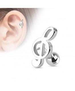 Piercing tragus cartilage Acier Note de musique Clé de Sol