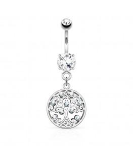 Piercing nombril anneau arbre de vie généalogique filigrane strass blanc acier