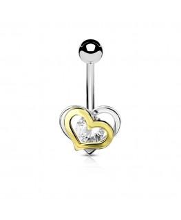 Piercing nombril double petit coeur couleur acier et doré strass rond blanc