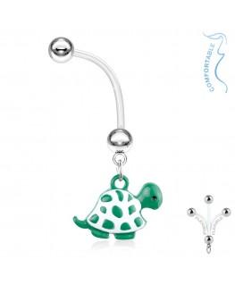 piercing nombril grossesse, femme enceinte tortue verte et blanche