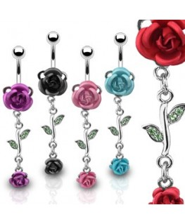Piercing nombril double rose feuille strass verte pendant