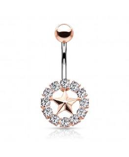 Piercing nombril anneau etoile strass blanc couleur doré rosé