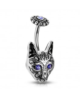 Piercing nombril chat tribal fleur yeux strass bleu