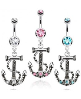 Piercing nombril ancre marine corde bateau strass navire