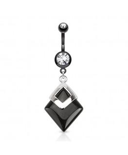 Piercing nombril imitation belle semi pierre precieuse noir strass blanc broche acier
