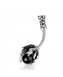 Piercing dragon nombril belle patte griffe ongle relief boule imitation perle pierre noir