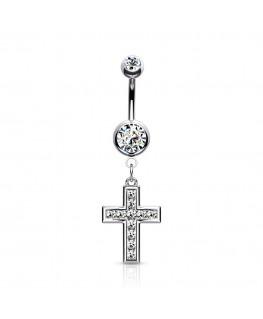 Piercing nombril belle petite croix avec strass blanc pendentif bijoux
